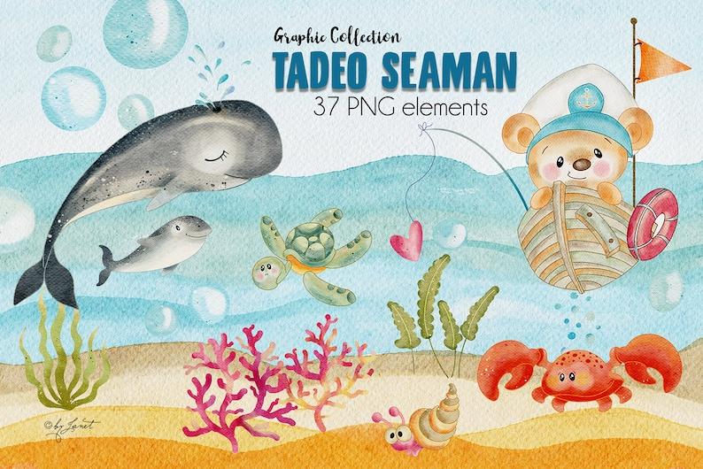 Tadeo Seaman  art baby clipart  animal illustration  zdjęcie 0