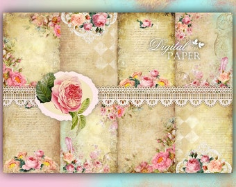 Shabby Chic Paper - background - digital collage sheet - set of 8 - Printable Download