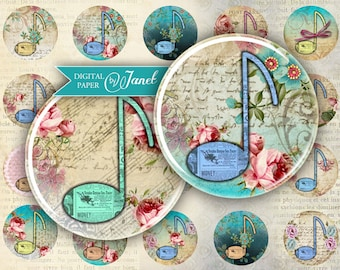 Musica - circles image - digital collage sheet - 1 x 1 inch - Printable Download