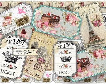 Ticket Vintage - digital collage sheet - set of 6 strips - Printable Download