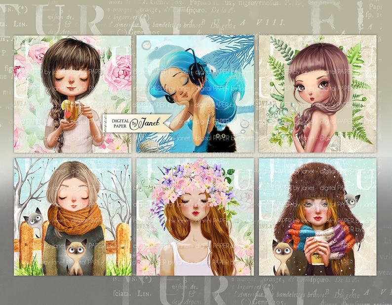 Dziewczyny  Sweet karty  zestaw 6  karta kolaż  nadający image 0