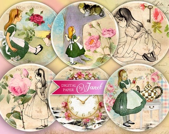 Alice in Wonderland - illustration - 2.5 inch circles - set of 12 - pocket mirrors, tags, scrapbooking, cupcake toppers