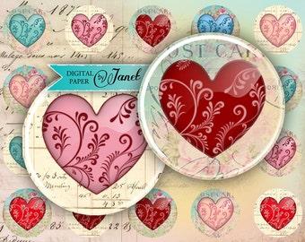 Hearts - circles image - digital collage sheet - 1 x 1 inch - Printable Download