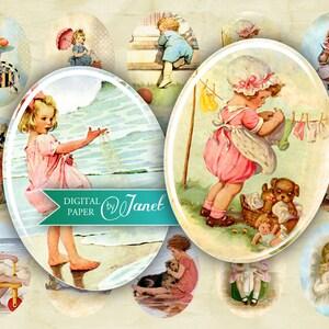 Printable Download Illustration Girls 30 x 40 mm oval image digital collage sheet
