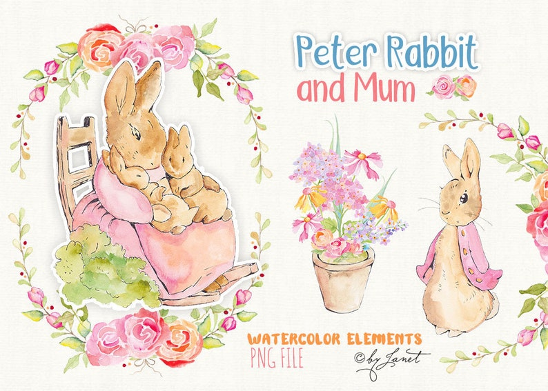 Peter Rabbit and Mum  art clipart  Illustration  Watercolor image 0