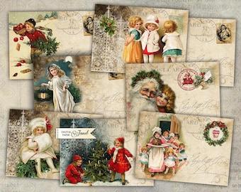 Christmas Greeting - digital collage sheet - set of 8 - Printable Download