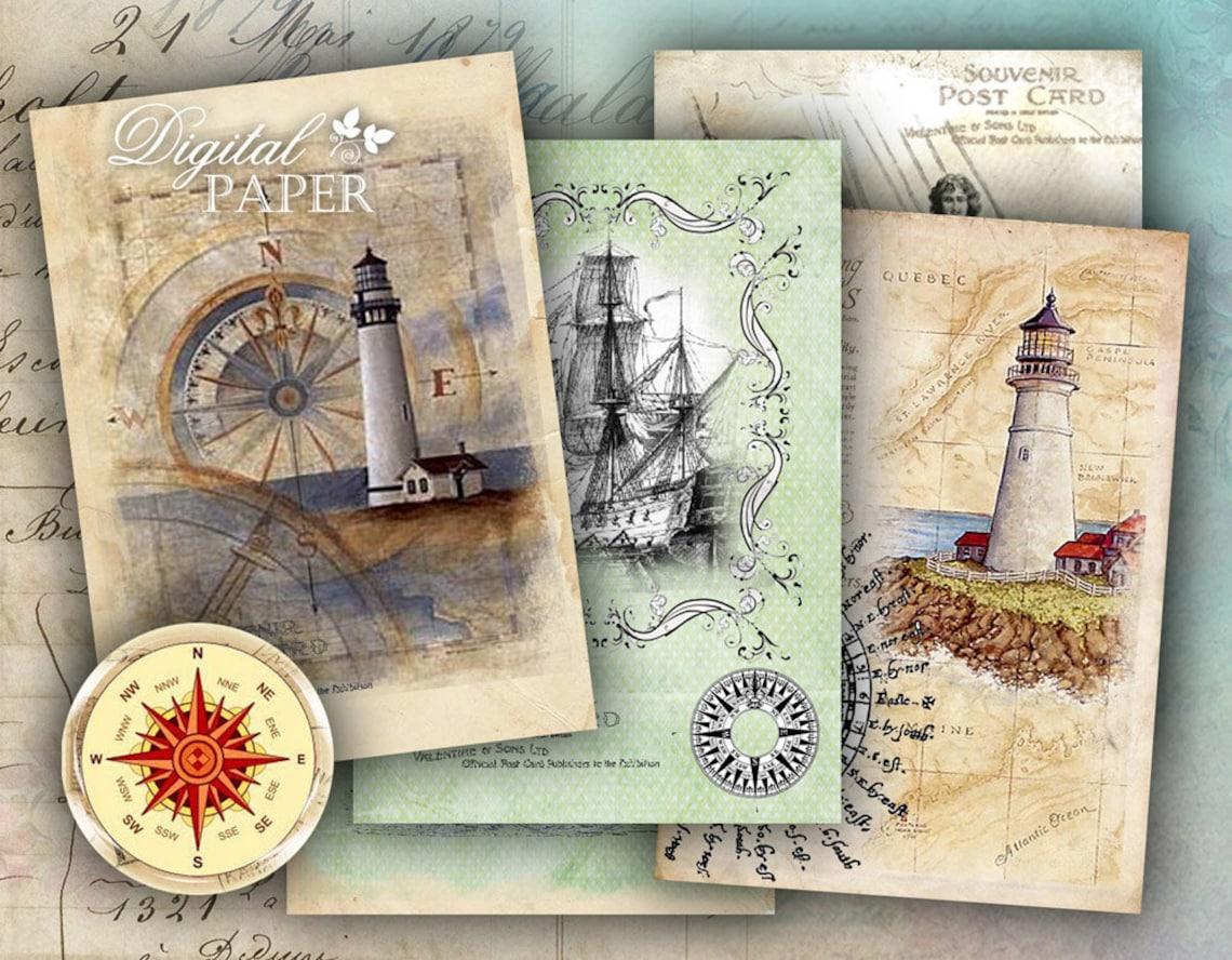 Compass  digital collage sheet  set of 8  Printable image 0