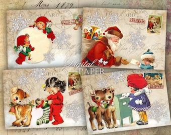 Ho ho ho - digital collage sheet - set of 8 - Printable Download