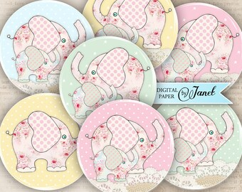 BABY elephant - 2.5 inch circles - set of 12 - digital collage sheet - pocket mirrors, tags, scrapbooking, cupcake toppers