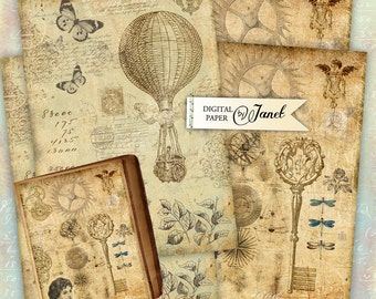 Steam Punk background - digital collage - set of 2 - Printable Download