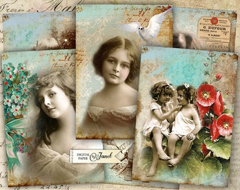 OLD Foto - digital collage sheet - set of 6 - Printable Download