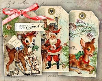 Christmas Tags - digital collage sheet - set of 6 - Printable Download