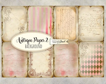 Antique Paper 2 - background - digital collage sheet - set of 8 - Printable Download