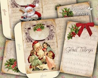 Santa Claus - Envelopes - digital collage sheet - set of 2 sheet - Printable Download