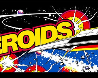 """Asteroids Marquee, Arcade, 12 x 36"""" Video Game Poster, Print"""