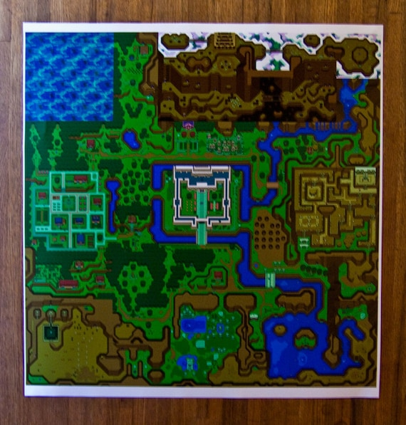 Link To The Past Light World Map.Hyrule Map Legend Of Zelda A Link To The Past Light Dark Etsy