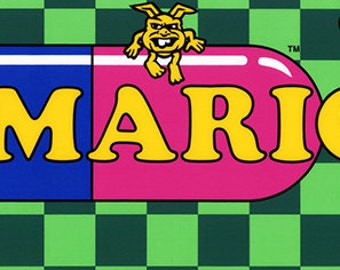"""Vs. Dr Mario Marquee, Arcade, 8 x 36"""" Video Game Poster, Print"""