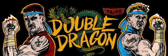 Double Dragon Marquee Arcade 12 X 36 Video Game Etsy