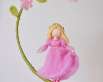 READY TO SHIP Nursery Mobile  / Wall Hanging Waldorf inspired  : Princess with pink flowers