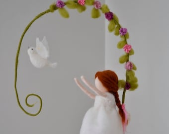READY TO SHIP Dove with girl Nursery Mobile  / Wall Hanging Waldorf inspired  : Girl in white