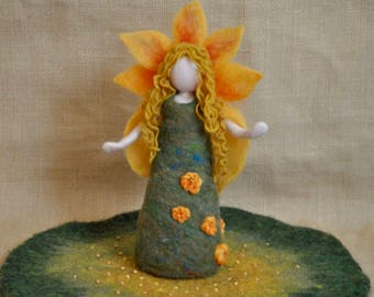 Seasonal Table Doll  Waldorf inspired needle felted : Summer