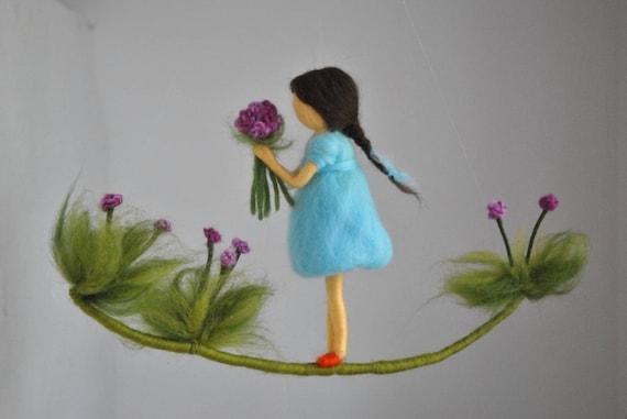 Kamer decor wol mobiele naald vilten: meisje met paarse etsy