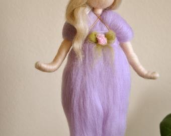 Purple Fairy Wall Hanging Waldorf inspired needle felted