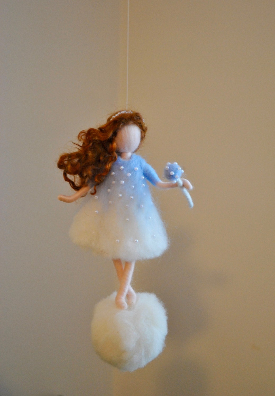 Wool Ornament Needle Felted Fairy : Snowflake Fairy