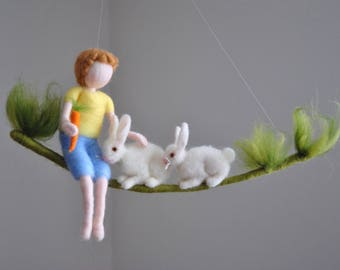 Easter Decor  Nursery Mobile  / Wall Hanging Newborn Gift : Boy with carrot and rabbits