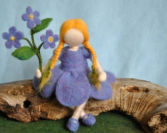 Waldorf inspired needle felted doll: Forget-me-not flower fairy