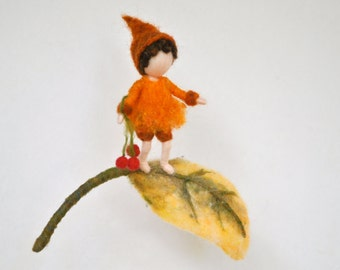 Autumn Gnome Waldorf inspired needle felted wall hanging : Gnome and yellow leaf