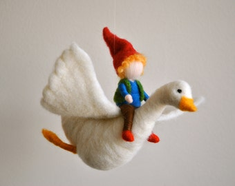 Room Ornament  Waldorf Inspired  : The boy and the goose