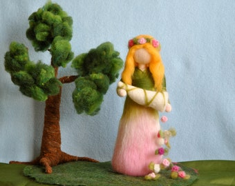 Waldorf inspired needle felted flower-doll: Spring horn-of-plenty (cornucopia)  fairy