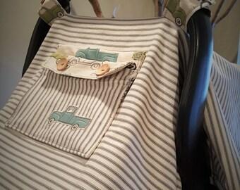 Car Seat Canopy, Handmade, Car Seat Cover, Grey Stripe Custom Made Infant Car Seat Canopy with Peek-a Boo Mesh Window.  Retro Cars