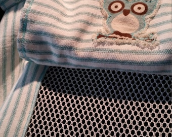 Car Seat Canopy, Blues,Teal, Orange,Handmade, Car Seat Cover, Infant Car Seat Canopy with Peek-a Boo Mesh Window.  Embroidered design