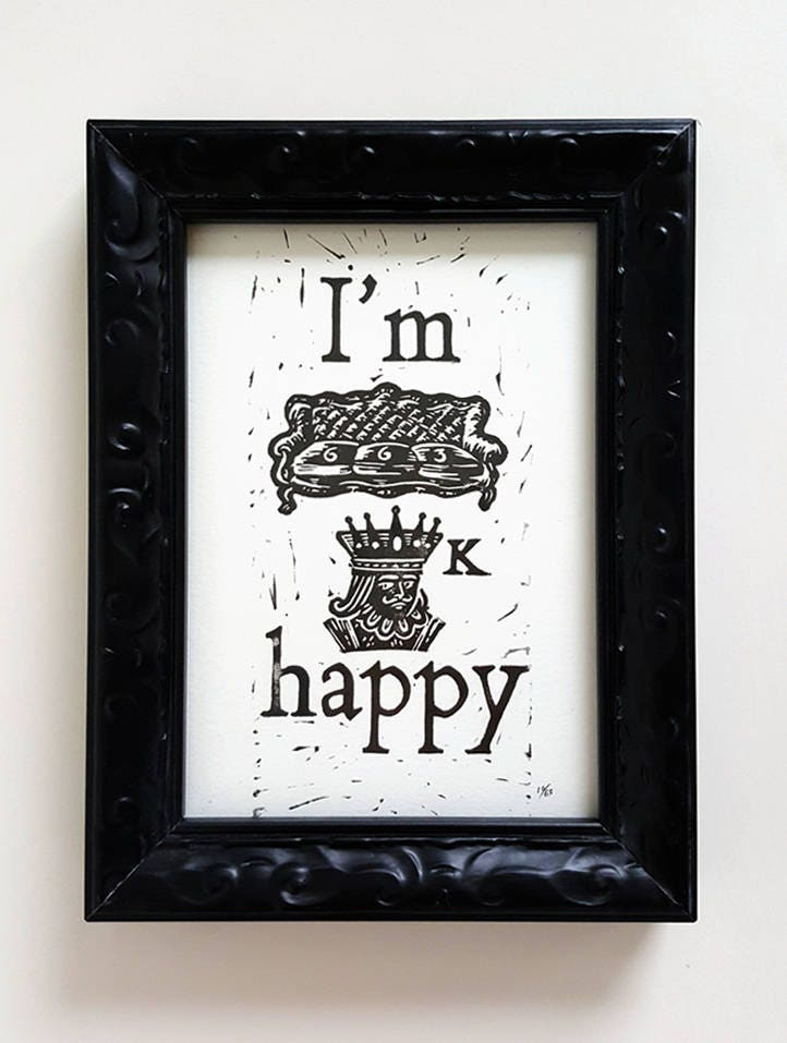 Sofa King Happy Linocut Block Print Frame Is Not Etsy