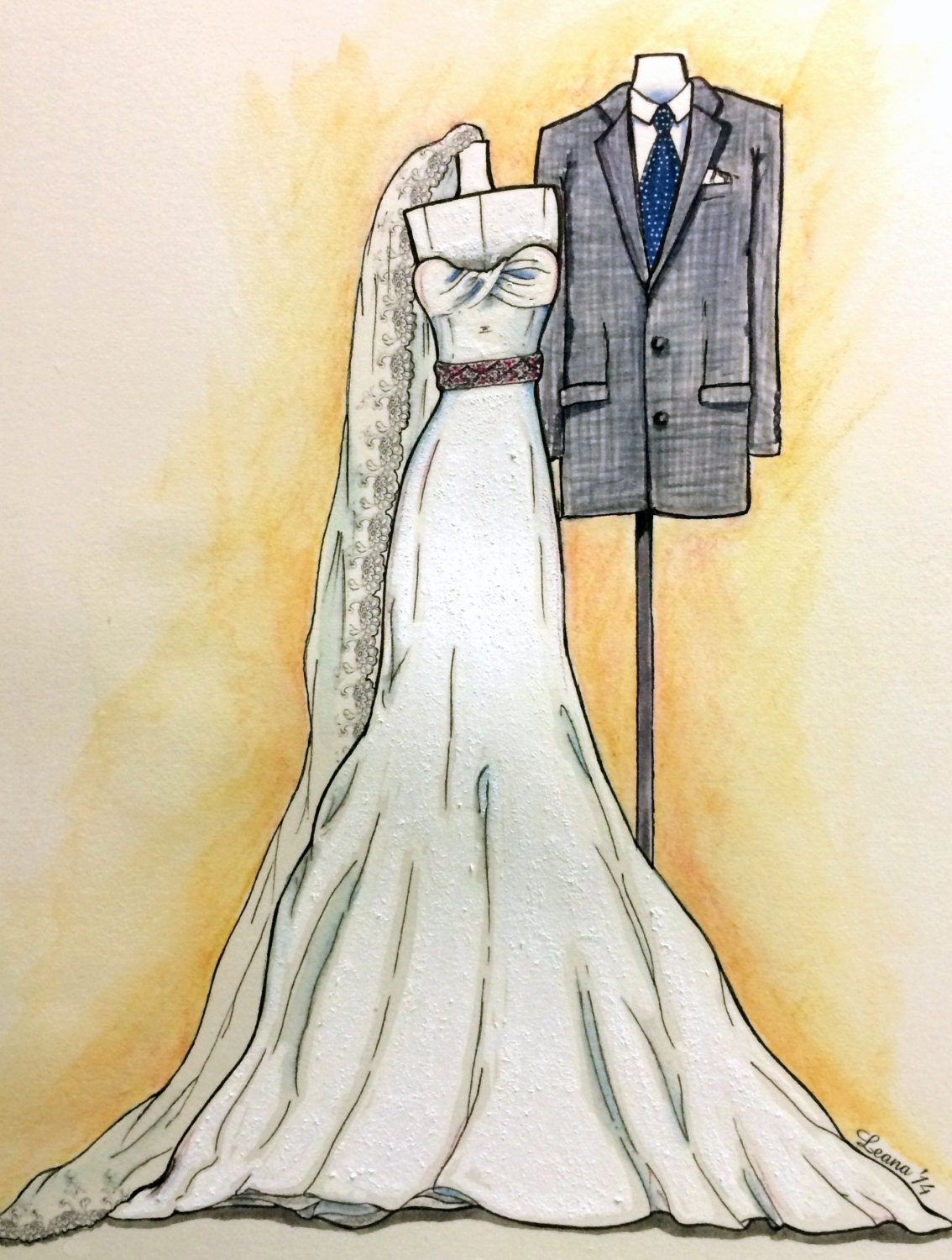 Painted Wedding Dress Drawing