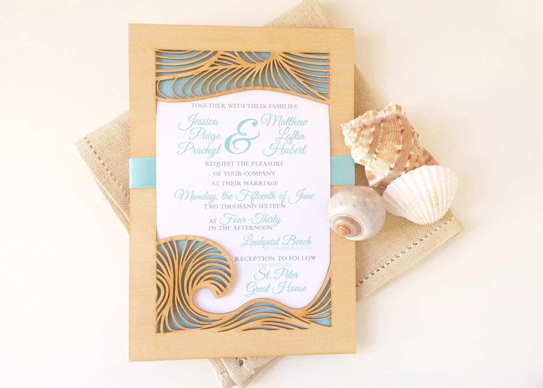 Etsy Beach Wedding Invitations: Beach Wedding Invitation And Response Card Made From Laser