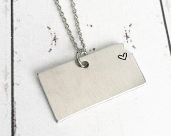 Kansas Heart Hometown Necklace - Kansas Necklace - Kansas Jewelry - State Jewelry - Hometown Necklace - Heart State Necklace - City Heart