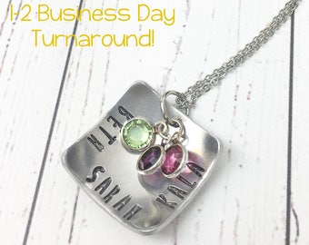 Square Mom Necklace - Kids Names Necklace - Square Domed Necklace - Mothers Necklace Kids Names - Mom Necklace Children Names - Hand Stamped