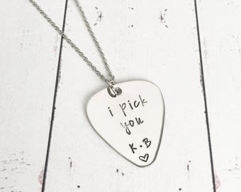 I Pick You Guitar Pick Necklace with Initials - Pick Jewelry - Guitar Jewelry - Anniversary Gift - Birthday Gift - Gift for Wife - Valentine