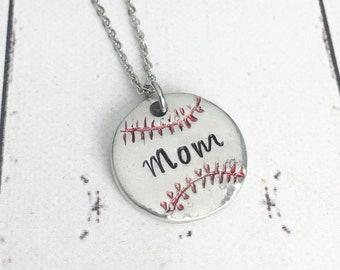 Baseball Mom Pewter Necklace - Pewter Baseball Necklace - Baseball Jewelry - Baseball Necklace - Mom Baseball - Mom Necklace