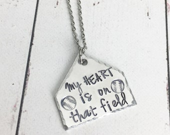 My Heart Is On That Field Baseball Necklace - Baseball Mom Necklace - Baseball Mom Jewelry - Baseball Field - Home Plate Necklace