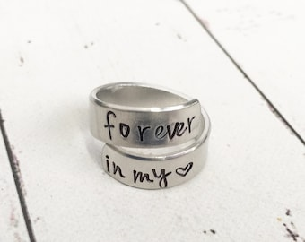 Forever In My Heart Memorial Ring - Spiral Wrap Ring - Hand Stamped Ring - Hand Stamped Personalized - Memorial Jewelry - Remembrance