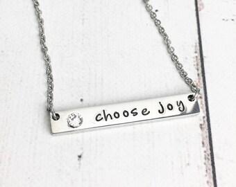 Choose Joy Bar Necklace - Horizontal Bar Necklace - Birthstone Bar Necklace - Steel Bar Necklace - Dainty Minimalist
