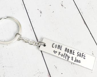 Come Home Safe Keychain with Names - Law Enforcement Keychain - Trucker Keychain - Police Officer Fire Fighter Keychain