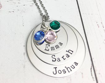 Stacked Mom Necklace with Kids Names Birthstones - Personalized Mom Necklace - Layered Necklace - Kids Names Necklace -Hand Stamped Necklace
