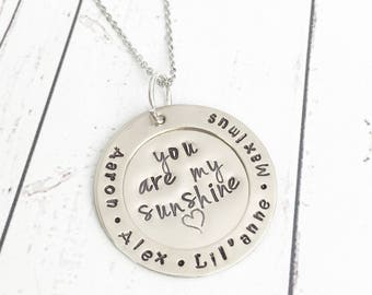 You Are My Sunshine Necklace - Sunshine Necklace - Sunshine Jewelry - You Are My Sunshine Jewelry - Mom Grandma Necklace -Hand Stamped Names
