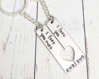 Love You Love You More Keychain Set - Couples Gift - Couples Keychains - Anniversary Gift - Wedding Gift - Couples Initials
