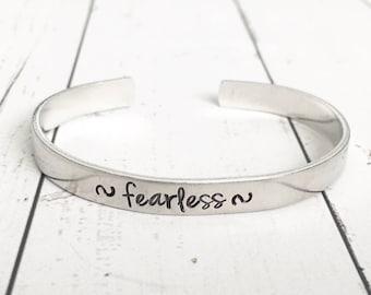 Fearless Bracelet - Fearless Cuff - Inspirational Bracelet - Fearless Jewelry - Hand Stamped Cuff - Hand Stamped Bracelet - Quote Bracelet